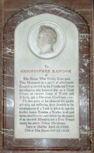 Christopher Rawdon memorial, Ullet Road, Unitarian Church